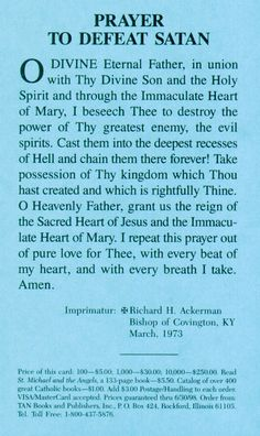 Prayer to the Blessed Virgin Mary to Defeat Satan.Thank you Holy Mother. Please pray for us. Catholic Prayer For Protection, Catholic Prayer For Healing, Catholic Prayers Daily, Novena Prayers, Prayers For Healing, Catholic Quotes, Healing Prayer, God Prayer, Daily Prayer