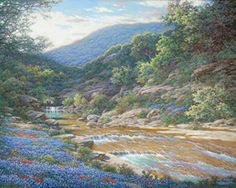 Morning at Willow Creek by Larry Dyke - Dyke is one of our nation's foremost landscape painters, and he loves to paint the Texas Hill Country. The artist presents this panorama of the region as a magnificent landscape in all its glory. With a heavenly sky, a lush field of bluebonnets, a meandering stream, and a rocky terrain, Dyke has created a marvelous, eternal vista. ... click image to read more and see all of Larry's images.