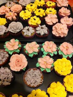 Flower Garden Cupcakes - Chocolate Marshmallow and Banana Chocolate Chip Cupcakes with Swiss Buttercream Icing