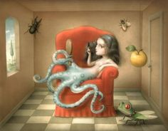 Italian artist Nicoletta Ceccoli uses pastel colors to tell us a story of a melancholy world. Some common themes in her surreal works include loneliness, f Art Beat, Italian Painters, Italian Artist, Mark Riden, Illustrations, Illustration Art, Le Kraken, Arte Lowbrow, Motif Art Deco