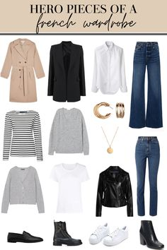 French Wardrobe Basics, French Capsule Wardrobe, Parisian Wardrobe, Basic Wardrobe Essentials, Closet Basics, Wardrobe Staples, Mode Outfits, Casual Outfits, Fashion Outfits