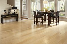 Pastele maple wood flooring in dining area Wide Plank Flooring, Solid Wood Flooring, Engineered Wood Floors, Laminate Flooring, Vinyl Flooring, Modern Wood Floors, Maple Hardwood Floors, Floating Hardwood Floor, Wall Colors