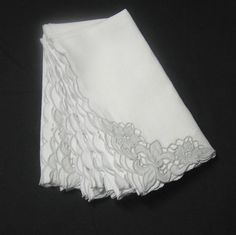 Set of 7 Vintage Handkerchief Linen White Dinner Napkins with Gray Eyelet Cut Work & Fleur-de-lys Corner, ~~by Victorian Wardrobe by VictorianWardrobe on Etsy