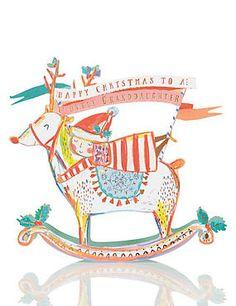 Granddaughter Rocking Reindeer Christmas Card