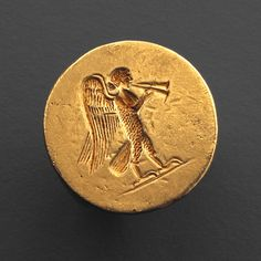 Hellenistic Gold ring with Engraved Siren    Culture : Greek, Hellenistic Period : late 4th century B.C. Material : Gold, D: 202 cm
