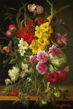 "Yana Movchan: "" Bouquet with Gladiolus"", 21st century."