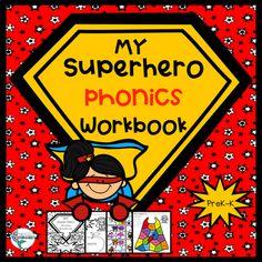 A-Z Superheroes Workbook, Trace, Color, and More! Superhero Letters, Superhero Classroom Theme, Superhero Kids, Kindergarten Reading, Kindergarten Activities, Preschool, School Reviews, Book Letters, Literacy Centers
