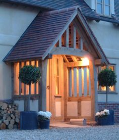 Front door porch extension border oak 51 ideas for 2019 Front Door Porch, Front Door Entrance, House Entrance, Front Doors, Porch Oak, Porch Wooden, Portico Entry, Front Entry, Wooden Doors