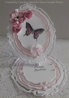 DownUnder Direct Inspirations - Such a beautiful easel card Fancy Fold Cards, Folded Cards, Cumpleaños Diy, Side Step Card, Spellbinders Cards, Step Cards, Butterfly Cards, Butterfly Flowers, Shaped Cards