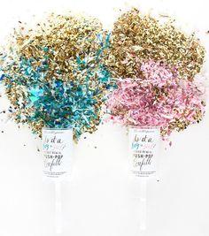 Gender Reveal PushPop Confetti by thimblepress on Etsy