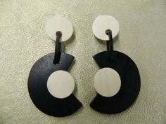 Vintage handmade black ivory wood clip on by aprilsunrises on Etsy