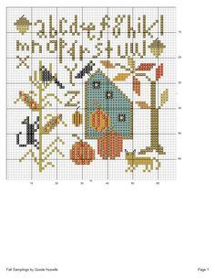 Cross Stitch Gallery, Fall Cross Stitch, Cross Stitch Heart, Cross Stitch Alphabet, Cross Stitch Samplers, Counted Cross Stitch Patterns, Cross Stitch Designs, Cross Stitching, Cross Stitch Embroidery