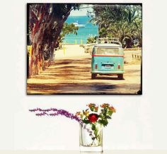 VW Bus, Retro VW Art, Large Canvas, Home Decor, Retro, Canvas Wall Art, Catalina Island. $85.00, via Etsy.