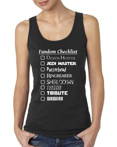 Fandom Checklist Supernatural Dr. Who Sherlock by NerdGirlTees