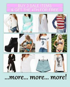Buy 3 and get the 4th for free! Fashion, shoes, accessories, many choices! Free worldwide shipping ...