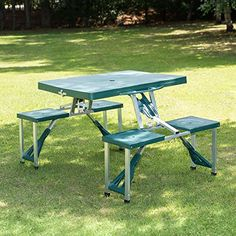 Outsunny Aluminum Picnic Table and Bench Set Camping Garden Party BBQ 4 Chair Stool Table Foldable and Portable - UKsportsOutdoors