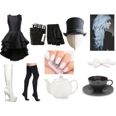Mad hatter (Black and white) by jennyparkerwoods on Polyvore featuring Bootights, Steve Madden, Majesty Black, Heather Huey, Brioni, JCPenney Home and Mikasa