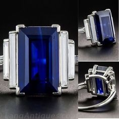 "569 Likes, 21 Comments - Lang Antique & Estate Jewelry (@langantiques) on Instagram: ""5.00ct. Emerald-cut Sapphire and Diamond Ring! Item# 30-1-10053"""