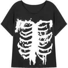 Yoins Black T-shirt (21 SGD) ❤ liked on Polyvore featuring tops, t-shirts, shirts, black, black shirt, pattern shirts, goth shirt, black t shirt and print top