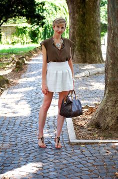 pictures source at www.coffeeblooms.com #fashion #style #look #outfit #closet #wear #dressup #fashionable #chic #skirt #white #louisvuitton