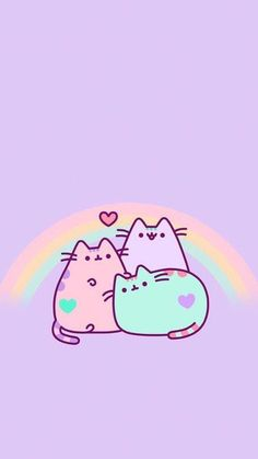 Image uploaded by ★Mαяvєℓσus Gιяℓ★. Find images and videos about wallpaper, pusheen and kawaii on We Heart It - the app to get lost in what you love. Cat Wallpaper, Kawaii Wallpaper, Pastel Wallpaper, Wallpaper Backgrounds, Iphone Wallpapers, Rainbow Wallpaper, Phone Backgrounds, Mobile Wallpaper, Chat Kawaii