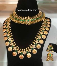 22 Carat gold antique tussi necklace studded with kundans and Ram Parivar kasu haram studded with uncut diamonds and emeralds by Bhavani Jewellers.