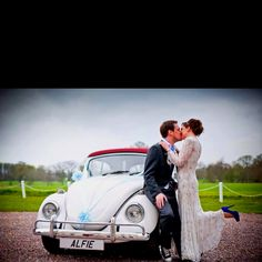 Vintage wedding. Frank usher and VW beetle