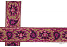 50 mm Indian Saree Borders - Jacquard lace # 002971 Violet Colored Droplet-shaped vegetable design and floral design , with pink outline and Golden Jacquard saree border for elegant Indian Saree Design.   This design is made by use of modern color i.e violet and pink. Such saree border designs are trending in Bollywood movie and fashion event.  Visit www.lacxo.com more then 250 variety of laces, tapes, trims, ribbons, webbing n such fashion accessories. You can even mail us at info@lacxo.com.
