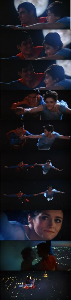 First flight Lois Lane and Superman in Superman: the Movie 1978 this scene was so romantic Real Superman, First Superman, Superman And Lois Lane, Lana Lang, Comic Book Characters, Comic Book Heroes, Christopher Reeve Superman, Fictional Heroes, Lex Luthor