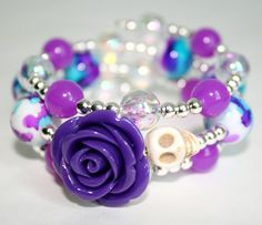 Skull Bracelet Day of the Dead Sugar Skull Jewelry by Exgalabur, $14.00