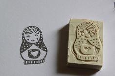 hand carved stamp matroschka by Nadja von Cieminski ala Aure, via Flickr
