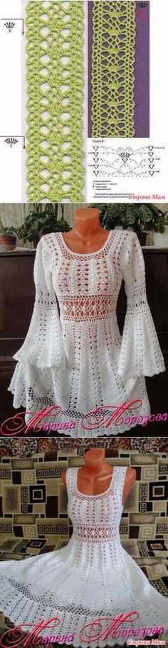 Charming dress of Marina Morozova. Schemes of knitting by a hook