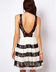 Lace Insert Contrast Skater Dress