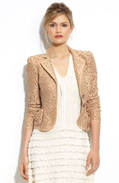 Lace Jacket...YES PLEASE Gold Blazer, Lace Blazer, Lace Jacket, Suit Jacket, Best Blazer, Blazer Fashion, Fashion Outfits, Outerwear Women, Kebaya Dress