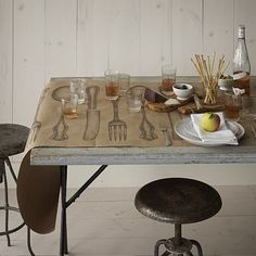 This would be easy to DIY using stamps & craft paper.  Cake Kitchen Paper - Table Wrap #WestElm