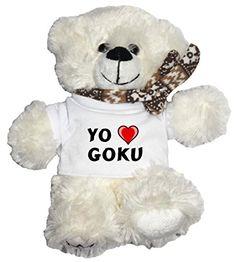 Oso blanco de peluche con Amo Goku en la camiseta (nombre de pila/apellido/apodo) #camiseta #friki #moda #regalo