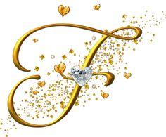 Alfabeto dorado con corazones. Letras mayúsculas. Letra F.