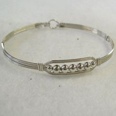 Five Little Silver Beads Wire-Wrapped Bracelet