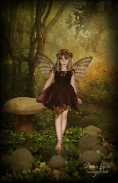 A shy fairy in the forest with vintage background. Trees from deviantart.com