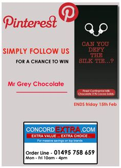 "Simply follow us for a chance to Win Mr Grey ""Can you defy the Silk Tie..?"" Chocolate !"