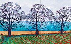David Hockney, Three Trees near Thixendale, Winter 2007 David Hockney Landscapes, David Hockney Art, David Hockney Paintings, Landscape Art, Landscape Paintings, Contemporary Landscape, Pop Art Movement, Robert Rauschenberg, Royal Academy Of Arts