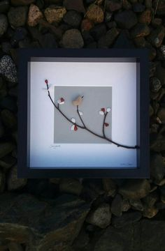 Songbird...an Irish pebble art gift, handmade from natural elements including snow quartz and red jasper. Inspired by Wren Day which falls on December 26th each year here in Ireland. The little wren, king of the birds! My tribute to the wren is created from a beautiful pebble