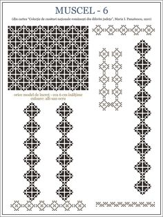 Folk Embroidery Patterns maria - i - panaitescu - ie MUSCEL pixels Embroidery Motifs, Learn Embroidery, Vintage Embroidery, Machine Embroidery, Embroidery Designs, Cross Stitch Borders, Cross Stitch Patterns, Blackwork, Antique Quilts