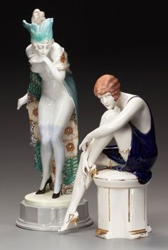 TWO GOLDSCHEIDER-STYLE ART DECO CERAMIC FIGURES, circa 1930