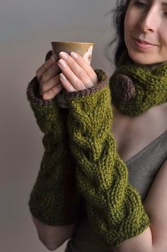 Freezebaby Mittens - classic cable handknit long mittens in olive green by eveldasneverland, via Flickr