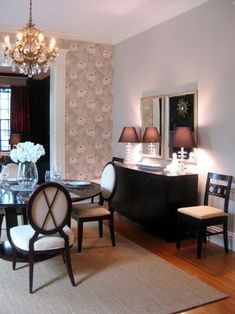 I love how this dining room mixes expensive lighting with budget lighting.