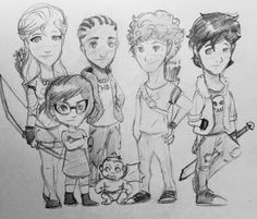 "A sketch of the ""Trials of Apollo"" group. (L to R): Kayla, Meg, Austin, Peaches, Apollo/Lester and Nico because I haven't drawn him yet. Art by Jum. of apollo roirdan knowles mccaffrey lake papadopoulos di angelo art Percy Jackson, Rick Riordan Series, Rick Riordan Books, Tio Rick, Uncle Rick, Meg Mccaffrey, Kane Chronicals, Hazel And Frank, Will Solace"