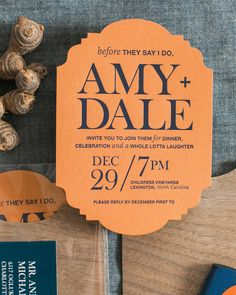 Rustic Orange, Navy, and Wood Rehearsal Dinner Invitations by Atheneum Creative