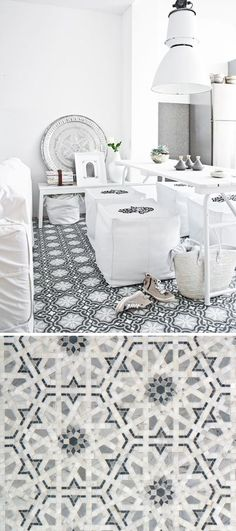 "The graphic pattern on the floor makes a splash in this all white ""Moroccan Modern"" dining room. Get the same look with the Granada Pattern in Grigio from Walker Zanger's Villa d'Oro Collection."
