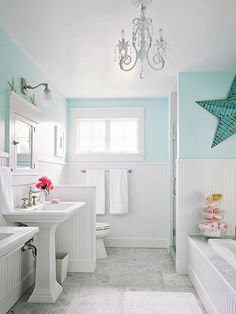 A white-and-blue color palette with beaded-board paneling results in a classic and charming [beachy] bathroom.